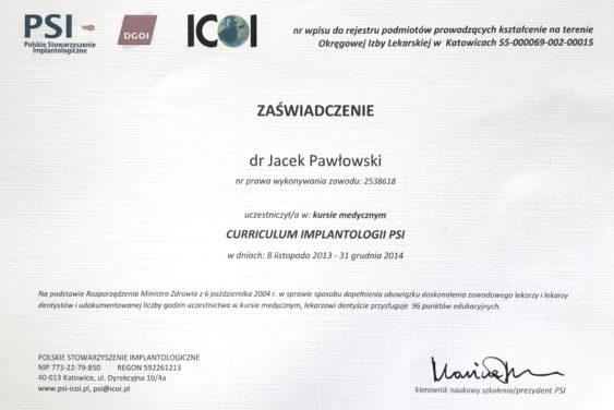 certyfikat Jacek Pawłowski