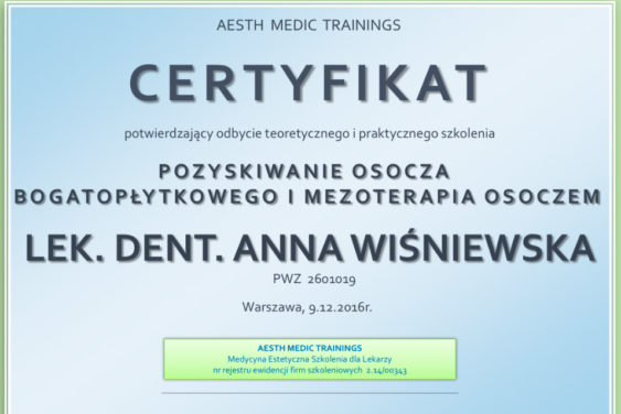 certyfikat anna wiśniewska