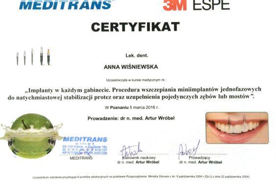 certyfikat anna wiśniewska lekarz dentysta